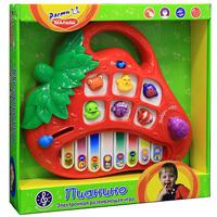 Развивающее пианино Клубничка8806-1Яркое развивающее пианино Клубничка со световыми эффектами обязательно понравится малышу и не позволит ему скучать. Пианино выполнено в виде клубнички с расположенными на нем 8 клавишами и 6 кнопками в виде животных. Каждой клавише соответствует своя нота, поэтому ребенок легко выучит их названия. С помощью кнопок в виде животных ребенок познакомится с их названиями и издаваемыми ими звуками. Также на панели пианино есть рычажок в виде божьей коровки, голубая нотка, с помощью которой можно регулировать звук, и переключатель в виде фиолетовой мышки, с помощью которого можно выбрать игру. А для удобства переноски на игрушке есть пластиковая ручка. Занятия с такой игрушкой помогут малышу развить цветовое и звуковое восприятия, воображение и мелкую моторику рук. Порадуйте его таким замечательным подарком!