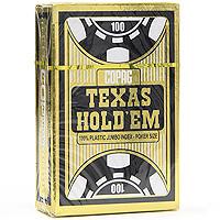 Карты игральные профессиональные Copag Texas Holdem, 54 карты, цвет: золотой, черный104006335Карты Texas Holdem с рубашкой черного цвета и увеличенным индексом подходят для профессиональной игры в покер. Карты имеют очень гладкую поверхность, выполнены из 100% пластика и имеют стандартный размер.