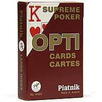 Карты игральные профессиональные Piatnik Opti Poker, 55 карт1419Карты Opti Poker с увеличенным индексом предназначены для игры в покер и другие карточные игры. Карты имеют очень гладкую поверхность, покрытие из пластика и стандартный размер.