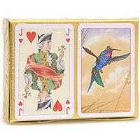 Набор игральных карт Колибри, 2x55 листов2017Набор Колибри состоит из двух колод игральных карт. В основу оформления рубашек колод легли изображения птички колибри. Эти карты послужат замечательным подарком и доставят вам удовольствие от игры. Карты упакованы в подарочную коробку золотистого цвета.