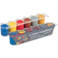 Гуашь 6 цветовx25мл металлик51000035Гуашь Primo позволяет получить превосходные ровные интенсивные цвета с эффектом металлика. Для получения еще более ярких цветов можно нанести более толстый слой краски или несколько слоев. Может использоваться для рисования на различных поверхностях: бумаге различной плотности, картоне, дереве, ткани, стекле, металле, глине, пластике. Эффект металлика усиливается при нанесении на цветную поверхность. Смешение различных цветов приводит к бесконечному количеству ярких вариантов. Гуашь легко отстирывается с большинства тканей. Если же хочется достигнуть эффекта несмываемой краски по ткани - достаточно нанести сверху закрепляющий лак.