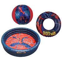 Набор для плавания Spiderman, 3 предмета. 13946091394609Набор для плавания Spiderman, изготовленный из ПВХ, состоит из надувного бассейна, надувного круга и мяча. Все предметы набора оформлены изображением Человека-паука - героя знаменитого комикса. Благодаря компактным размерам бассейн можно устанавливать не только на улице, но и дома, а также его всегда можно брать с собой. Такой набор станет незаменимым атрибутом летнего отдыха. Spiderman- известный комикс о супергерое - Человеке-пауке. Подростка Питера Паркера кусает радиоактивный паук во время научной демонстрации. Благодаря этому он получает паучьи сверхспособности, как, например, суперсилу, способность передвигаться по стенам и феноменальную прыгучесть.
