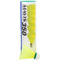 Набор воланов для игры в бадминтон Mavis 350, цвет полосы: зеленый, 6 штMavis-slowВолан Yonex Mavis выполнен из пластика. Пробковая головка приближает его полет к полету перьевого волана. Волан для игры в бадминтон влияет на процесс игры не меньше, чем ракетка. Характеристики: Материал: пластик, пробка. Высота валана: 8,5 см. Цвет полосы на валане: зеленый. Производитель: Япония. Артикул: M-350CP(Y)SLOW.