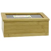 Ящик для хранения чая Oriental way. NL18120NL18120Ящик Oriental way, выполненный из бамбука, предназначен для хранения чая. В нем имеется три отделения. Ящик закрывается крышкой с прозрачной пластиковой вставкой, которая позволяет видеть содержимое. Ящик Oriental way займет достойное место на любой кухне и послужит украшением кухонного интерьера. Характеристики: Материал: бамбук, пластик. Размер: 21,5 см х 13 см х 9 см. Артикул: NL18120. Торговая марка Oriental way известна на рынке с 1996 года. Эта марка объединяет товары для кухни, изготовленные из дерева и других материалов. Все товары марки Oriental way являются безопасными для здоровья, экологичными, прочными и долговечными в использовании.