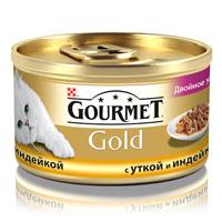 Консервы для кошек Gourmet Gold, с уткой и индейкой, 85 г12032394Корм Gourmet Gold консервированный полнорационный для взрослых кошек, с уткой и индейкой. Рекомендации по кормлению: Для взрослой кошки среднего веса требуется 4 баночки корма Gourmet Gold в день. Кормление необходимо разделить минимум на два приема. Индивидуальные потребности животного могут отличаться, поэтому норма кормления должна быть скорректирована для поддержания оптимального веса вашей кошки. Для беременных и кормящих кошек - кормление без ограничений. Подавать корм комнатной температуры. Следите, чтобы у вашей кошки всегда была чистая, свежая питьевая вода. Условия хранения: Закрытую банку хранить в сухом прохладном месте. После открытия продукт хранить максимум 24 часа. Ингредиенты: мясо и субпродукты животного происхождения (утка 4%, индейка 4%), экстракт растительных белков и субпродукты рыбного происхождения, зерновые, минеральные вещества, различные сахара, красители и консерванты, витамины. ...