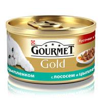 Консервы для кошек Gourmet Gold, с лососем и цыпленком, 85 г12109424Корм Gourmet Gold консервированный полнорационный для взрослых кошек, с лососем и цыпленком. Рекомендации по кормлению: Для взрослой кошки среднего веса (4 кг) требуется 3 баночки корма Gourmet Gold в день. Кормление необходимо разделить минимум на два приема. Индивидуальные потребности животного могут отличаться, поэтому норма кормления должна быть скорректирована для поддержания оптимального веса вашей кошки. Для беременных и кормящих кошек - кормление без ограничений. Подавать корм комнатной температуры. Следите, чтобы у вашей кошки всегда была чистая, свежая питьевая вода. Условия хранения: Закрытую банку хранить в сухом прохладном месте. После открытия продукт хранить максимум 24 часа. Состав: мясо и субпродукты (из которых цыпленка 4%), злаки, рыба и продукты переработки рыбы (лосось 4%), сахара, минеральные вещества, консерванты. Добавленные вещества: МЕ/кг: витамин A: 1290; витамин D3: 200. мг/кг:...