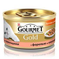Консервы для кошек Gourmet Gold, с форелью и овощами, 85 г12109500Корм Gourmet Gold консервированный полнорационный для взрослых кошек, с форелью и овощами. Рекомендации по кормлению: Для взрослой кошки требуется 4 баночки корма Gourmet Gold в день. Кормление необходимо разделить минимум на два приема. Индивидуальные потребности животного могут отличаться, поэтому норма кормления должна быть скорректирована для поддержания оптимального веса вашей кошки. Для беременных и кормящих кошек - кормление без ограничений. Подавать корм комнатной температуры. Следите, чтобы у вашей кошки всегда была чистая, свежая питьевая вода. Условия хранения: Закрытую банку хранить в сухом прохладном месте. После открытия продукт хранить максимум 24 часа. Состав: мясо и субпродукты, злаки, рыба и продукты переработки рыбы (форель 4%), овощи (4%), сахара, минеральные вещества. Добавленные вещества: МЕ/кг: витамин A: 1290; витамин D3: 200. мг/кг: железо: 9; йод:0,2; медь: 0,8;...