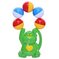 Stellar Погремушка Обезьяна цвет зеленый01539_обезьянаЯркая погремушка Акробатик не оставит вашего малыша равнодушным и не позволит ему скучать! Игрушка представляет собой забавную зверушку, держащуюся за связку разноцветных шариков, выполняющих роль погремушки. Удобная форма ручки погремушки позволит малышу с легкостью взять и держать ее. Яркие цвета направлены на развитие мыслительной деятельности, цветовосприятия, тактильных ощущений и мелкой моторики рук ребенка, а элемент погремушки способствует развитию слуха.