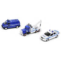 Welly Игровой набор Полиция 99610-3A99610-3AИгровой набор Полиция, состоящий из трех машин, понравится вашему малышу и надолго займет его внимание. Все модели яркие по дизайну и приближенные к реальной технике. У легкового автомобиля открываются передние двери, у фургона - багажник, а у буксира поднимается и складывается крюк. Ваш ребенок сможет часами играть с этим набором, придумывая разнообразные спасательные истории. Порадуйте его таким замечательным подарком!