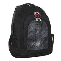 Рюкзак оформлен изображением пауков и паутины.  Он имеет множество...