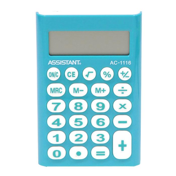 Калькулятор Assistant AC-1116, 8-разрядный, цвет: синийAC-1116BlueСтильный карманный калькулятор в ярком цветном корпусе с круглыми резиновыми кнопками, окрашенными в цвет корпуса, - это не только помощник в вычислениях, но и стильный деловой аксессуар. Калькулятор оснащен 8-разрядным дисплеем-линзой, увеличивающим цифры. Позволяет вычислять проценты и запоминать промежуточные результаты вычислений. Калькулятор работает от батареи. Характеристики: Цвет: синий. Материал: пластик, резина. Размер дисплея: 4,5 см х 1,5 см. Размер калькулятора: 6,5 x 9,5 x 1 см. Размер упаковки: 10,5 см x 19 см x 2 см. Изготовитель: Китай.