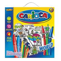 Набор для рисования Carioca World, 64 предмета8003511412647Большой набор для рисования  Carioca World подарит вашему малышу радость творчества. В распоряжении юного живописца 48 ярких фломастеров, 12 цветных карандашей и 4 трафарета для раскрашивания. Набор упакован в картонную коробку с пластиковой ручкой, которую легко взять с собой в дорогу. Специальные чернила на водной основе, используемые в фломастерах, легко смываются с большинства тканей. Порадуйте своего непоседу таким замечательным подарком!