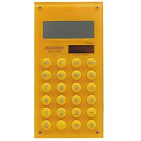 Калькулятор Assistant AC-1193, 8-разрядный, цвет: желтыйAC-1193YellowСтильный карманный калькулятор в ярком цветном корпусе с круглыми резиновыми кнопками, окрашенными в цвет корпуса - это не только помощник в вычислениях, но и стильный деловой аксессуар. Калькулятор оснащен 8-разрядным дисплеем-линзой, увеличивающим цифры. Позволяет вычислять проценты и запоминать промежуточные результаты вычислений. Калькулятор имеет двойную систему питания: от солнечного элемента и от батареи. 8-разрядный дисплей Вычисление процентов Цветной пластиковый корпус Двойное питание Резиновые кнопки Дисплей с выпуклой линзой