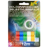 Голографическая клейкая лента Folia, 6 шт.F306Клейкая лента с голографическим рисунком Folia - блестящее решение для упаковки подарков и декорирования. В набор входит шесть лент красного, синего, зеленого, серебристого, желтого и розового цветов, а так же диспенсер. Характеристики: Длина ленты: 200 см. Ширина ленты: 1,2 см. Материал: ПВХ, пластик, металл. Размер упаковки: 11,5 см x 16,5 см x 4 см.
