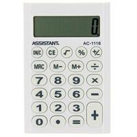 Калькулятор Assistant AC-1116, 8-разрядный, цвет: белыйAC-1116WhiteСтильный карманный калькулятор в ярком цветном корпусе с круглыми резиновыми кнопками, окрашенными в цвет корпуса, - это не только помощник в вычислениях, но и стильный деловой аксессуар. Калькулятор оснащен 8-разрядным дисплеем-линзой, увеличивающим цифры. Позволяет вычислять проценты и запоминать промежуточные результаты вычислений. Калькулятор работает от батареи. Характеристики: Цвет: белый. Материал: пластик, резина. Размер дисплея: 4,5 см х 1,5 см. Размер калькулятора: 6,2 x 9,3 x 1 см. Размер упаковки: 6,6 см x 12,3 см x 1,5 см.