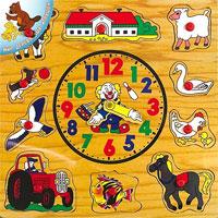 Развивающая игра-пазл Часы. Р35Р35Красочная рамка-вкладыш Часы, изготовленная из экологически чистой древесины, состоит из игрового поля-основы и 10 фигурок. Вокруг стационарных часов расположены вкладыши с изображением фермы, трактора, коровы, лошади, овцы, собаки, гуся, курицы, рыбы и птицы, имеющие оригинальную форму, которая подскажет ребенку, правильно ли они вложены. Ребенок это увидит сам. Все фигурки имеют удобный пластиковый держатель, благодаря которому ребенок без труда сможет установить их в соответствующее отверстие. Собирая рамку-вкладыш, ребенок будет вставлять каждый вкладыш в отверстие соответствующей формы. Ребенок научится подбирать отдельные составные части по размеру, форме и цвету. В качестве награды за труд ребенок получит прекрасные часы, которые могут быть использованы в качестве пособия для знакомства во время игры с цифрами и временем. Игра с такой рамкой-вкладышем поможет развитию у детей внимания, воображения, логического мышления, усидчивости, цветовосприятия и моторики пальчиков.