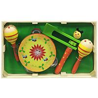 Набор музыкальных инструментов Мир деревянных игрушек, №2Д094В состав набора входят: маракасы, бубен, круговая трещотка. Теперь малыш сможет вдоволь постучать в бубен и погреметь маракасами и трещоткой! Бубен при встряхивании издает приятный звон. Маракас представляет собой музыкальный инструмент, напоминающий большую детскую погремушку, знакомую ребенку с младенческого возраста. Внутри у него пересыпаются шарики и при встряхивании раздается приятный шуршащий звук. С помощью такого набора музыкальных инструментов можно создать маленький домашний оркестр. После концерта все инструменты складываются внутрь деревянного ящичка. Игра на таких музыкальных инструментах помогает развитию у ребенка чувства ритма, музыкальной памяти, мелодического слуха, творческого и логического мышления.