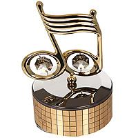 Фигурка декоративная Нотки, на музыкальной подставке. 6729167291Декоративная фигурка выполнена в виде нотки, оформленной кристаллами Сваровски. Фигурка будет вас радовать и достойно украсит интерьер вашего дома или офиса. Вы можете поставить украшение в любом месте, где оно будет удачно смотреться и радовать глаз. Кроме того, эта фигурка - отличный вариант подарка для ваших близких и друзей.