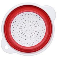 Дуршлаг складной Zing, цвет: красный0804878Складной дуршлаг Zing станет полезным приобретением для вашей кухни. Он изготовлен из высококачественного пищевого силикона и пластика. Прекрасно подходит для процеживания, ополаскивания и стекания макарон, овощей, фруктов. Дуршлаг компактно складывается, что делает его удобным для хранения.
