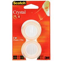 Клейкая лента Scotch Crystal, прозрачная, 2 шт6-1975R2Кристально-прозрачная канцелярская клейкая лента Scotch Cristal с прочным клеящим слоем идеально подходит для работы в офисе, а также для ламинации документов и упаковки подарков. Эта лента легко и бесшумно разматывается и при необходимости легко отрывается руками. Отлично приклеивается, не желтеет и долго хранится.