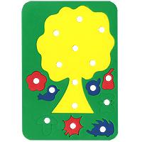Бомик Игра-шнуровка Дерево с плодами601Игрушка-шнуровка Дерево с плодами - увлекательная игра для малышей! Продеваем шнурочки в дырочки, и без иголочки изготавливаем яркую игрушку. Такие упражнения для рук и пальчиков развивают логическое мышление, а также научат малыша аккуратности и усидчивости. Эти полезные навыки очень пригодятся ему в школе. Характеристики: Материал: вспененный полимер, текстиль. Размер упаковки: 14,5 см х 21 см х 1 см.