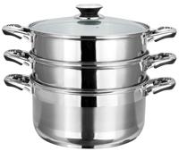 Пароварка Vitesse, 4 предмета. VS-1462VS-1462Пароварка Vitesse станет незаменимым помощником на вашей кухне. Она предназначена для приготовления здоровой пищи на пару. Такой способ приготовления продуктов сохраняет в них полезные витамины и минералы. Пароварка состоит из нижней кастрюли, двух кастрюль с отверстиями и крышки. Кастрюли изготовлены из высококачественной нержавеющей стали 18/10. Многослойное термоаккумулирующее дно обеспечивает равномерное распределение тепла по поверхности посуды. Удобные металлические ручки надежно крепятся к корпусу кастрюль. Крышка, выполненная из термостойкого стекла, позволит наблюдать за процессом приготовления пищи. Также крышка снабжена металлическим ободом. Пароварка Vitesse подходит для использования на всех типах кухонных плит, включая индукционные, также изделие можно мыть в посудомоечной машине. Характеристики: Материал: нержавеющая сталь, алюминий, стекло. Диаметр нижней кастрюли: 26 см Высота стенки нижней кастрюли: ...