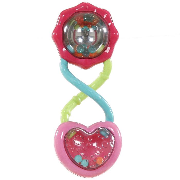 Bright Starts погремушка Розовый калейдоскоп8672Благодаря различным по фактуре деталям и ярким цветам погремушка Розовый калейдоскоп привлекает внимание малыша и способствует развитию мелкой моторики и хватательных рефлексов. Погремушка выполнена в виде двух переплетающихся спиралей, на концах которых расположены сердечко и цветок. Внутри сердечка находятся разноцветные шарики, которые при потряхивании весело звенят. Цветок имеет зеркальную стенку, отражающую разноцветные шарики, также содержащие внутри, и создает эффект калейдоскопа. Занятия с такой погремушкой способствуют развитию концентрации внимания, контролируемых хватательных движений, цветового и звукового восприятия.