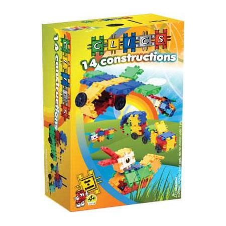 Clics КонструкторRC050Конструктор Clics (Кликс) - отличный набор для вашего ребенка, благодаря которому можно построить большое количество самых разных конструкций - 14 штук! Самолет, вертолет, снегокат, несколько моделей машинок с прицепом и без и разных животных. В комплект входят иллюстрированные пошаговые схемы сборки. Конструктор содержит: 34 элемента (два из них с глазами), 8 колес, 6 осей и 2 соединителя для машин или фаркопа.