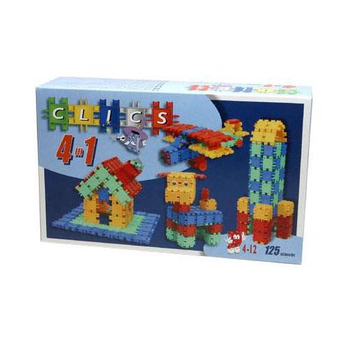 Clics Конструктор 4 в 1СА101(M125)Конструктор Clics (Кликс) - отличный набор для всестороннего развития вашего ребенка. Этот конструктор поможет развить логическое мышление, мелкую моторику рук, воображение, фантазию. Особенность конструктора заключается в том, что он позволяет ребенку строить бесконечные забавные модели руководствуясь своей фантазией или по прилагаемой инструкции (домик, вертолет, ракету или собачку).