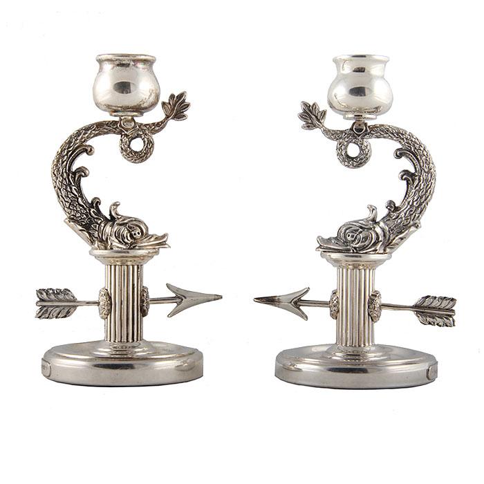 Подсвечники парные Рыбы. Белый металл. House of Faberge, вторая половина ХХ века
