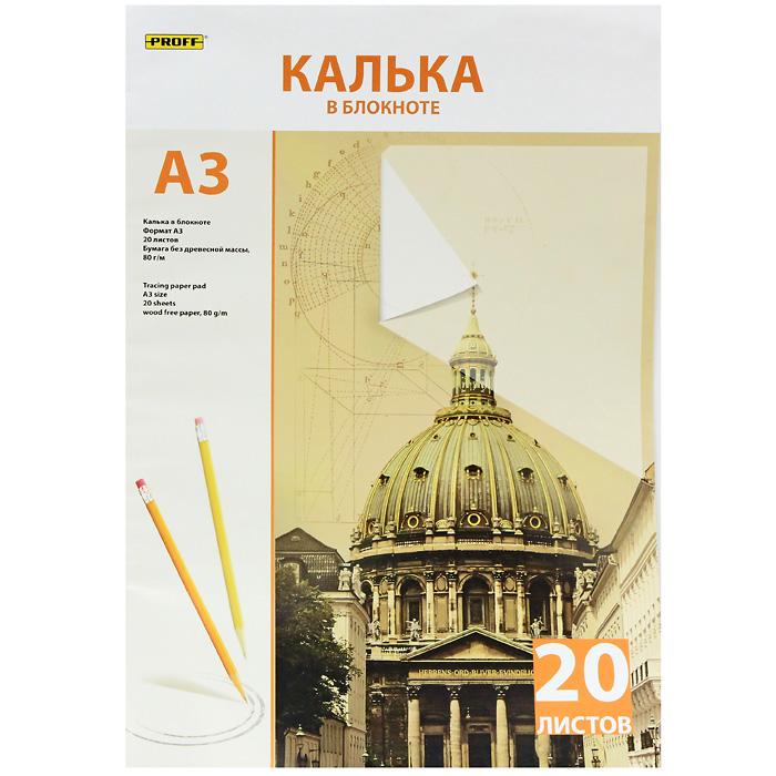 Калька Proff, 20 листовPVP9310Калька прозрачная Proff предназначена для получения копий документа или рисунка формата А3. Формат: А3. Размер упаковки: 29,3 см х 42 см х 0,05 см.