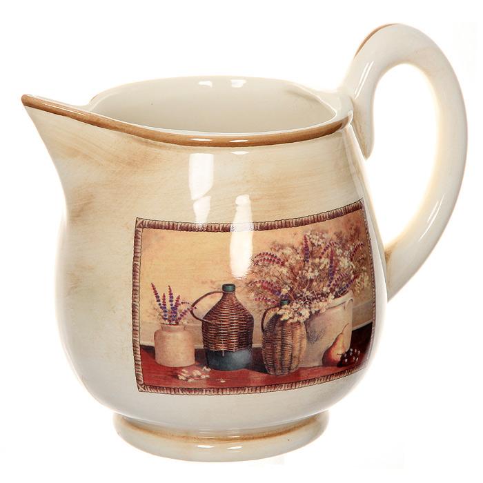 Кувшин Натюрморт, 2 лLCS654V-ALКувшин Натюрморт, изготовленный из керамики, выполнен в бежево-коричневых тонах и декорирован рисунком-натюрмортом. Кувшин станет отличным дополнением к вашему кухонному инвентарю, а также украсит сервировку стола и подчеркнет прекрасный вкус хозяина. Допускается мытье в посудомоечной машине при соблюдении инструкции изготовителя посудомоечной машины.