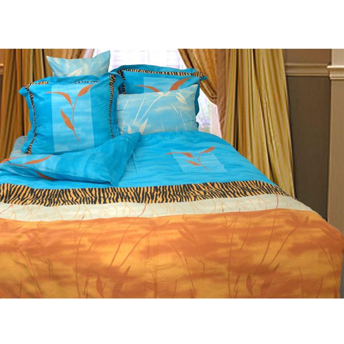 Комплект белья Целестин (2-х спальный КПБ, сатин, 4 наволочки 50х70, 70х70)Т-0669-01_2-спальныйКомплект постельного белья Целестин, изготовленный из сатина, поможет вам расслабиться и подарит спокойный сон. Постельное белье имеет изысканный внешний вид и обладает яркостью и сочностью цвета. Комплект состоит из пододеяльника, простыни и четырех наволочек. Все предметы комплекта цельнокроеные. Благодаря такому комплекту постельного белья вы сможете создать атмосферу уюта и комфорта в вашей спальне. Сатин производится из высших сортов хлопка, а своим блеском, легкостью и на ощупь напоминает шелк. Такая ткань рассчитана на 200 стирок и более. Постельное белье из сатина превращает жаркие летние ночи в прохладные и освежающие, а холодные зимние - в теплые и согревающие. Благодаря натуральному хлопку, комплект постельного белья из сатина приобретает способность пропускать воздух, давая возможность телу дышать. Одно из преимуществ материала в том, что он практически не мнется и ваша спальня всегда будет аккуратной и нарядной.