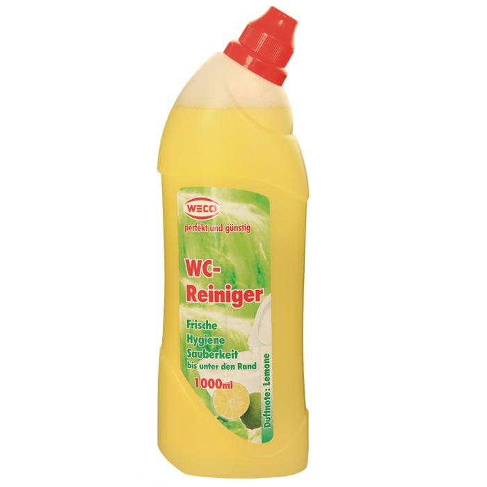 Гель для чистки унитаза Weco, с ароматом лимона, 1 л60030Гель Weco - средство для быстрой и эффективной чистки унитазов. Превосходно, без усилий растворяет грязь, известковые и уриновые отложения, жир и другие устойчивые загрязнения. Гель не оставляет следов и разводов после высыхания, обработанные поверхности приобретают идеальный сияющий блеск. Средство обладает антибактериальным действием и удаляет неприятные запахи, придавая очищаемым поверхностям аромат лимонной свежести. Удобный флакон позволяет использовать средство легко и экономно, даже на вертикальных поверхностях.