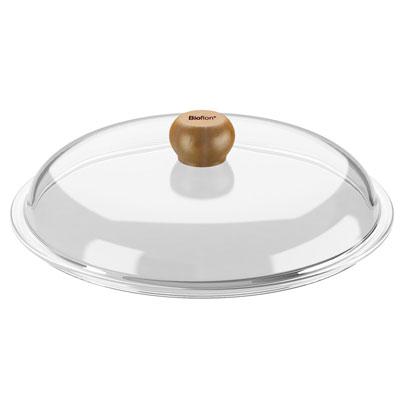 Крышка стеклянная Bioflon, диаметр 24 см8009924Вашему вниманию предлагается крышка Bioflon изготовленная из термостойкого стекла. Ручка выполненная из дерева и не позволит вам обжечься.