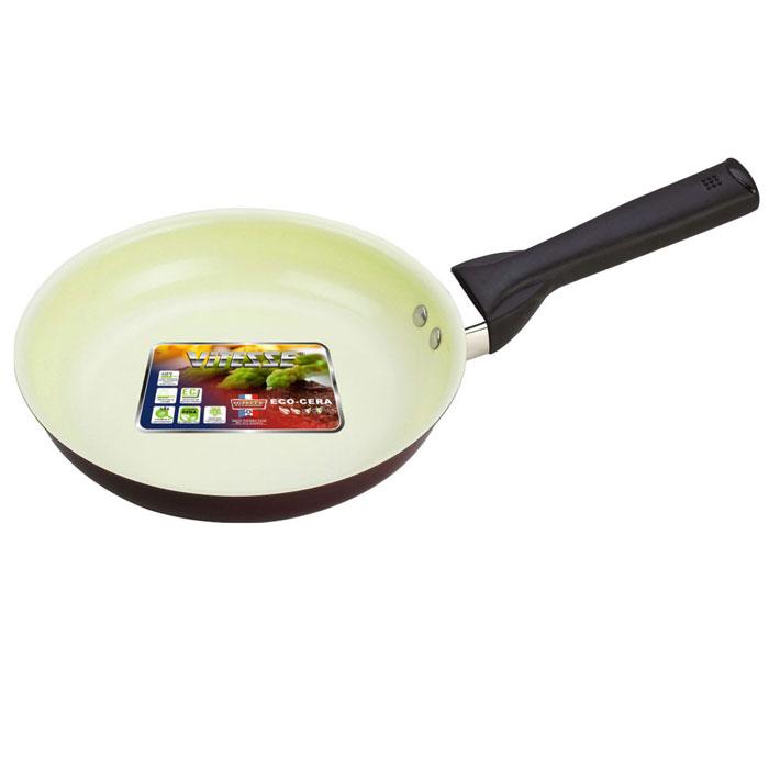 Сковорода Vitesse. Диаметр 24 смVS-2215Сковорода Vitesse станет незаменимым помощником на кухне. Особенности: Сковорода изготовлена из высококачественного алюминия, толщина - 2,5 мм. Внешнее элегантное цветное покрытие, подвергшееся высокотемпературной обработке. Бакелитовая, высокопрочная, огнестойкая, не нагревающаяся ручка удобной формы на заклепках. Внутреннее керамическое покрытие. Быстрый нагрев и равномерное распределение тепла по всей поверхности. Стойкое керамическое покрытие позволяет готовить при температуре до 450 градусов. Можно использовать металлическую лопатку. Пригодна для мытья в посудомоечной машине. Подходит для всех видов варочных панелей. Характеристики: Материал: алюминий. Диаметр: 24 см. Высота стенок: 5 см. Артикул: VS-2215.