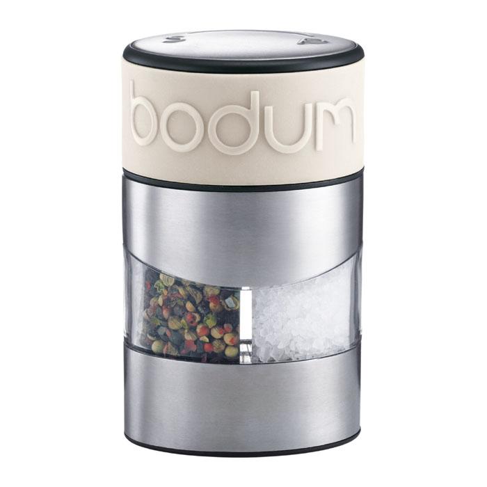 Мельница для соли и перца Bodum Twin, цвет: белый 11002-91311002-913Мельница для соли и перца Bodum Twin позволяет солить и перчить одновременно - это превосходное партнерство. Мельница выполнена из прозрачного стекла и нержавеющей стали. В верхней части мельницы имеется силиконовая вставка. Мельница легка в использовании: одним поворотом силиконовой части мельницы приспособление переключается с солонки на перечницу, и вы сможете поперчить или добавить соль по своему вкусу в любое блюдо. Прочный керамический механизм позволяет молоть практически без усилий. Благодаря прозрачной конструкции легко определить, когда соль или перец заканчиваются. Оригинальная мельница модного дизайна будет отлично смотреться на вашей кухне. Мельниц уже содержит внутри соль и перец. Характеристики: Материал: стекло, нержавеющая сталь, пластик, силикон, керамика. Размер мельницы: 6,5 см х 11 см х 6,5 см. Размер упаковки: 8 см х 12,5 см х 8 см. Изготовитель: Швейцария. Артикул: 11002-913.