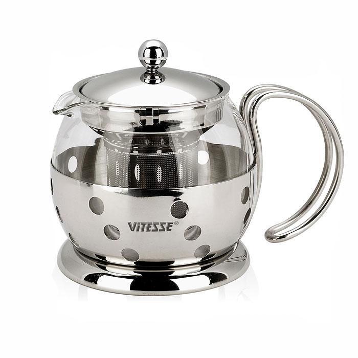Чайник заварочный Vitesse Classic, с ситечком, 700 мл. VS-8319VS-8319Заварочный чайник Vitesse Classic, выполненный из высококачественной нержавеющей стали и термостойкого стекла, предоставит вам все необходимые возможности для успешного заваривания чая. Чай в таком чайнике дольше остается горячим, а полезные и ароматические вещества полностью сохраняются в напитке. Чайник имеет вынимающийся фильтр-ситечко, что делает его чрезвычайно удобным в использовании. Эстетичный и функциональный, с эксклюзивным дизайном, чайник будет оригинально смотреться в любом интерьере. Чайник пригоден для мытья в посудомоечной машине. Высота чайника (без учета крышки): 11 см. Диаметр основания чайника: 11 см.
