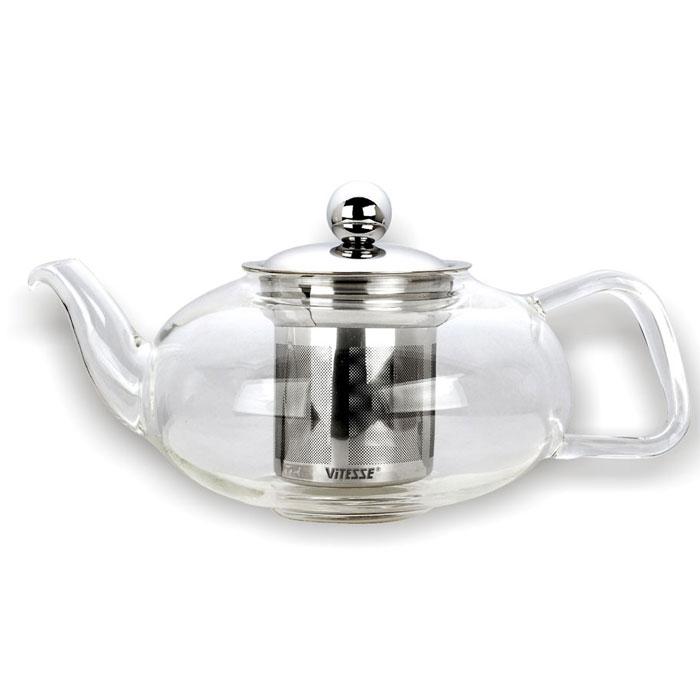 Чайник заварочный Vitesse Katia, с фильтром, 400 млVS-1921Заварочный чайник Vitesse Katia, выполненный из термостойкого стекла, предоставит вам все необходимые возможности для успешного заваривания чая. Чай в таком чайнике дольше остается горячим, а полезные и ароматические вещества полностью сохраняются в напитке. Чайник имеет вынимающийся фильтр и крышку из нержавеющей стали, горлышко и ручка изготовлены вручную. Эстетичный и функциональный, с эксклюзивным дизайном, чайник будет оригинально смотреться в любом интерьере. Чайник пригоден для мытья в посудомоечной машине. Высота чайника (без учета крышки): 8 см. Диаметр основания чайника: 7 см.