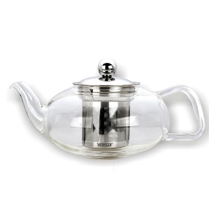 Чайник заварочный Vitesse Mika, с фильтром, 800 млVS-1922Заварочный чайник Vitesse Mika, выполненный из термостойкого стекла, предоставит вам все необходимые возможности для успешного заваривания чая. Чай в таком чайнике дольше остается горячим, а полезные и ароматические вещества полностью сохраняются в напитке. Чайник имеет вынимающийся фильтр и крышку из нержавеющей стали 18/10. Эстетичный и функциональный, с эксклюзивным дизайном, чайник будет оригинально смотреться в любом интерьере. Чайник пригоден для мытья в посудомоечной машине. Высота чайника (без учета крышки): 8 см. Диаметр основания чайника: 5,5 см.