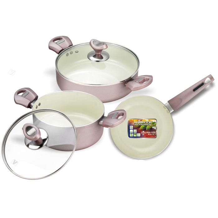 Набор кухонной посуды Vitesse, 5 предметов. VS-2217VS-2217Набор посуды Vitesse изготовлен из высококачественного алюминия. Набор включает: две кастрюли с крышками и сковороду. Особенности набора: - изготовлен из высококачественного алюминия, толщина 2,5 мм; - внешнее элегантное цветное покрытие, подвергшееся высокотемпературной обработке; - бакелитовая, высокопрочная, огнестойкая, ненагревающаяся ручка удобной формы на заклепках; - внутреннее керамическое покрытие; - быстрый нагрев и равномерное распределение по всей поверхности; - стеклянная жаропрочная крышка с отверстием для пара. Характеристики: Материал: алюминий, стекло, бакелит. Диаметр кастрюли, объемом 3,1 л: 24 см. Высота кастрюли, объемом 3,1 л: 7 см. Диаметр кастрюли, объемом 2,8 л: 20 см. Высота кастрюли, объемом 2,8 л: 9 см. Диаметр сковороды: 20 см. Высота сковороды: 4,5 см. Размер упаковки: 26 см х 35 см х 17 см. Изготовитель: Китай. Артикул: VS-2217. ...