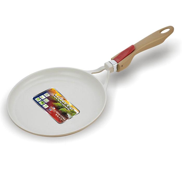 Сковорода для блинов Vitesse Crepe Pan, со съемной ручкой. Диаметр 28 смVS-2254Сковорода для блинов Vitesse Crepe Pan с антипригарным покрытием класса премиум и со съемной ручкой. Особенности сковороды: - изготовлена из высококачественного литого алюминия; - стойкое керамическое покрытие, позволяющее готовить при температуре до 450°C; - покрытие безопасное для здоровья человека, не содержит PFOA; - покрытие стойкое к царапинам, возможно использование металлической лопатки; - съемная ручка; - равномерное нагревание и доведение блюда до готовности. Подходит для: газовых, чугунных, стеклокерамических и галогеновых конфорок. Не подходит для индукции.