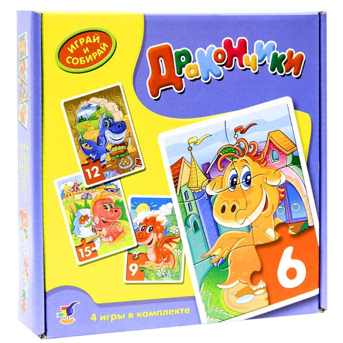 Комплект из 4 мозаик Дракончики2200В комплекте мозаик Дракончики вы найдете 4 мозаики с забавными изображениями, состоящие из 6, 9, 12 и 15 элементов. Игры-мозаики учат детей собирать простые картинки, подбирать детали по форме и изображению, способствуют развитию внимания, наблюдательности, наглядно-образного мышления, усидчивости и мелкой моторики рук.