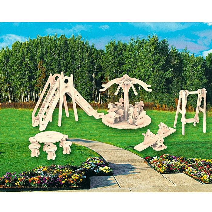 Сборная деревянная модель Детская площадкаП036Сборная деревянная модель Детская площадка позволит вам и вашему ребенку собрать объемную деревянную конструкцию в виде качели, горки, карусели. Модель для сборки развивает мелкую моторику, интеллектуальные способности, воображение и конструктивное мышление, тренирует терпение и усидчивость. Модель выполнена из экологически чистой древесины.