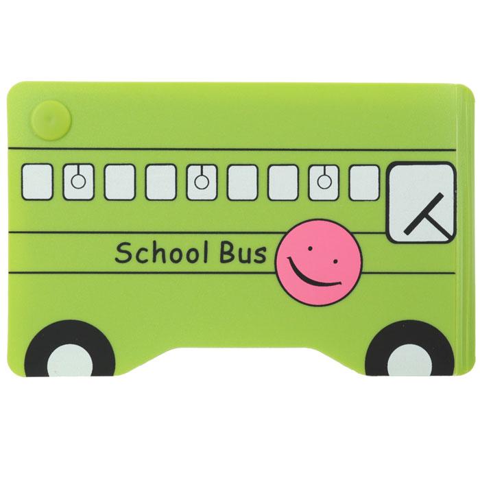 Кредитница Зеленый автобус0605002Стильная кредитница Зеленый автобус рассчитана на 10 карточек. Файлы из мягкого прозрачного пластика бережно сохранят ваши визитки и кредитные карты в одном месте. Нужная кредитка легко извлекается из обложки, благодаря специальному уголку. Обложка выполнена в виде школьного автобуса зеленого цвета. Характеристики: Размер кредитницы: 11,5 см х 7,3 см х 1 см. Материал: ПВХ, пластик. Изготовитель: Китай. Артикул: SD-7107.
