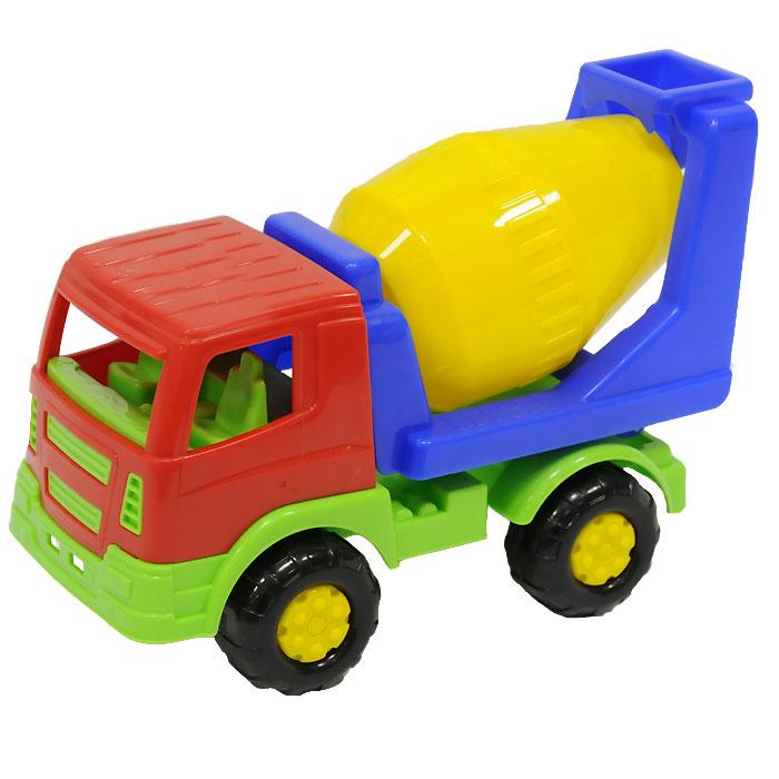Автомобиль-бетоновоз Салют в ассортиенте8953Яркий автомобиль, изготовленный из прочного безопасного пластика, отлично подойдет ребенку для различных игр. Колеса и бочка машины крутятся.