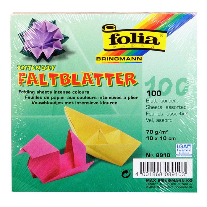 """Цветная бумага """"Folia"""" для оригами, 10 см х 10 см, 100 листов"""