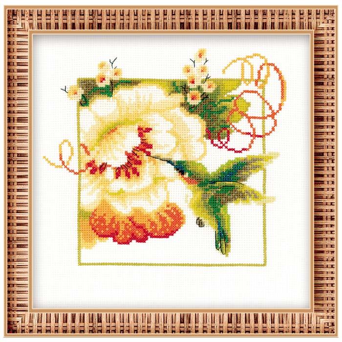Категория: цветы, птицы.  Размер работы: 25 х 25.  Цветная cхема.
