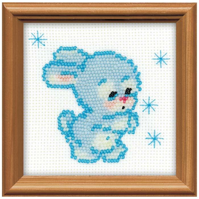 """Набор для вышивания бисером """"Снежный зайчик"""", 10 см х 10 см ( 1106 )"""