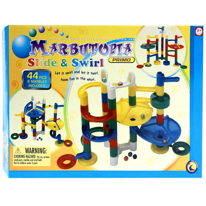 Marbutopia Конструктор Катиться и крутиться6813Конструктор Marbutopia (Марбутопия). Катиться и крутиться - первый шаг ребенка в мир конструирования объемных лабиринтов. В данном комплекте имеются разноцветные пластиковые детали, включая две большие воронки, распределитель движения и 8 шариков. Основная задача - построить горку так, чтобы шарик не застревал, а скатывался вниз по дорожкам и виражам. Особенность конструктора заключается в том, что он позволяет ребенку строить бесконечные забавные лабиринты руководствуясь своей фантазией или по прилагаемой инструкции (2 варианта сборки лабиринта). Конструирование лабиринтов полезно для развития пространственного мышления и воображения. Также развивает координацию, моторику, концентрацию, планирование, стратегию, понятие причины и следствия. Раннее развитие этих навыков, как известно, существенно увеличивает академические и интеллектуальные способности ребенка. Набор Катиться и крутиться совместим с другими наборами серии Primo, благодаря чему вы всегда...